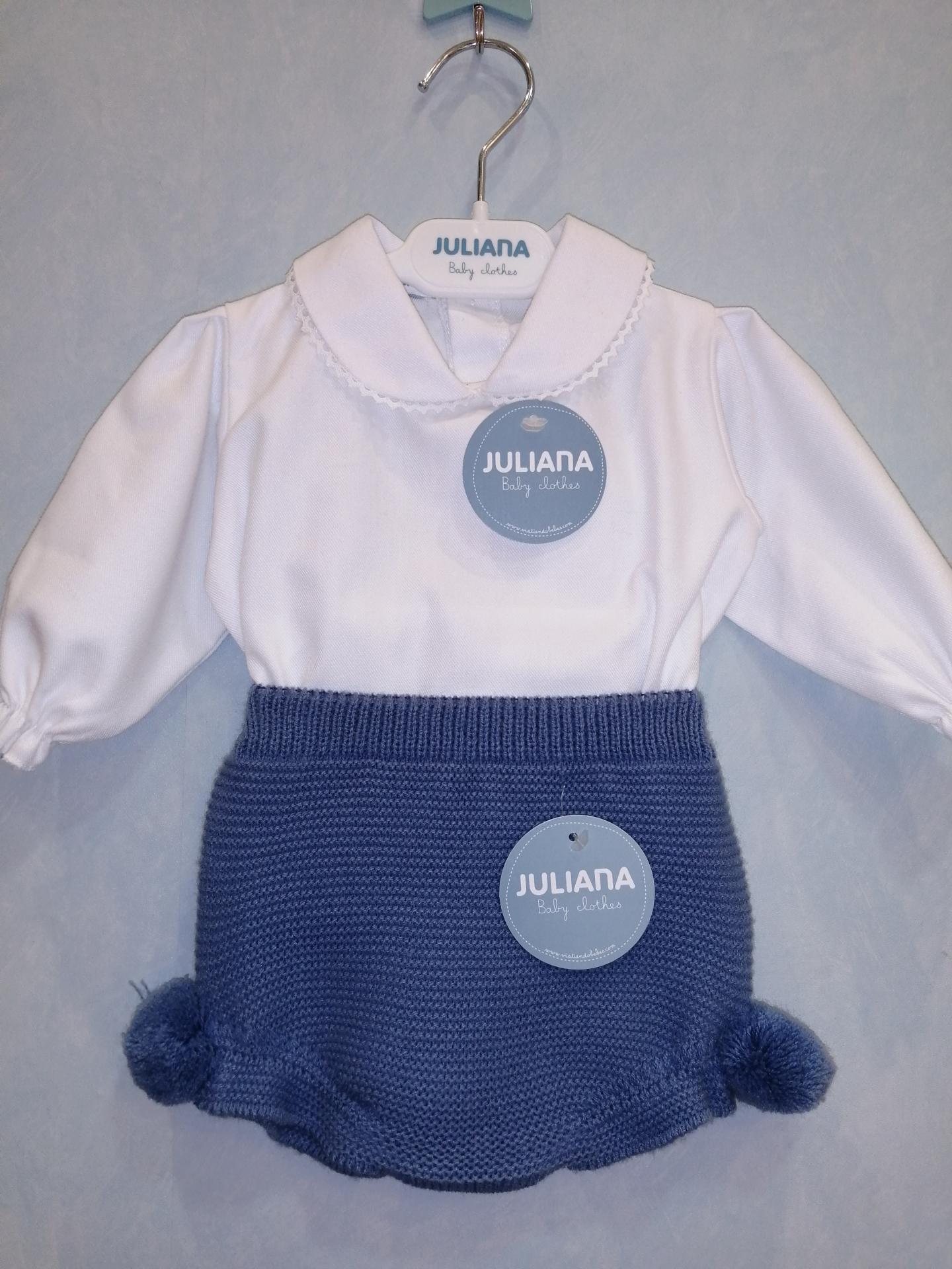 Conjunto Juliana camisa blanca y cubrepañal punto