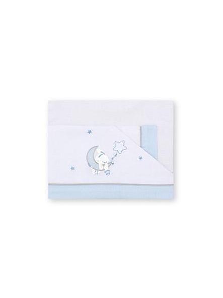 Sábanas  algodón 100%  Luna B/Azul Pirulos 131