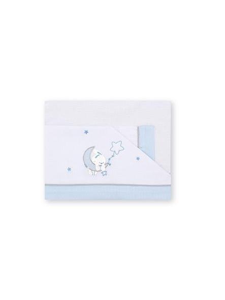 Sábanas algodón 3piezas  Luna  blanco Azul Pirulos 131 [0]