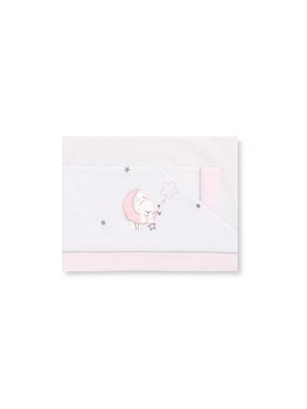 Sábanas algodón 3piezas  Luna  blanco Rosa Pirulos 131