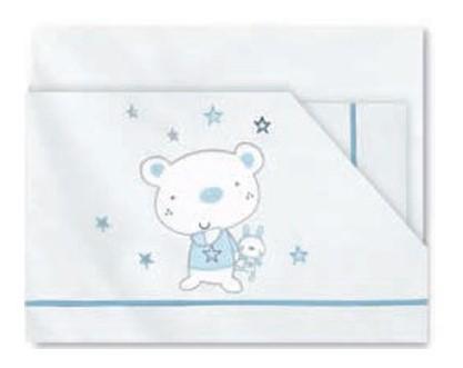 Sábanas 100% algodón Osito Star B/Azul Pirulos 130