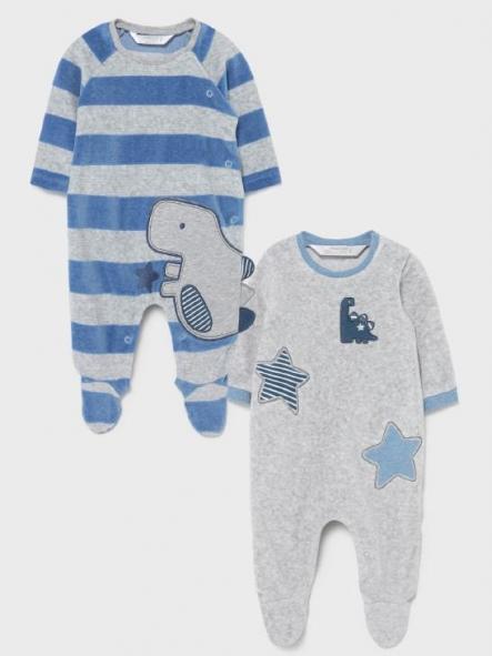 Set 2 pijamas punto tundosado dinosaurio