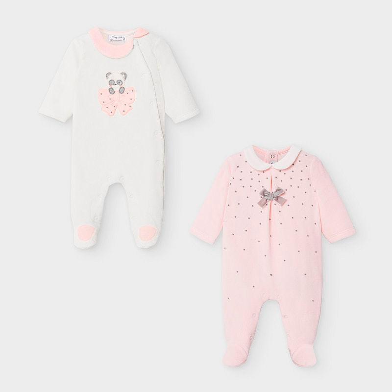 Set pijamas tundosados lacito bebé niña