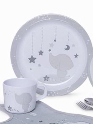 Vajilla 5 piezas y babero Weekend Constellation gris [1]