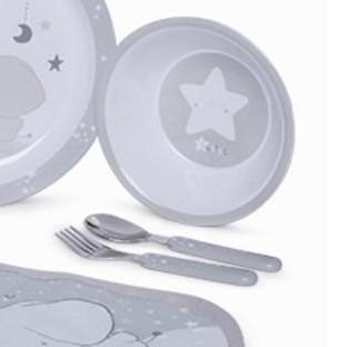 Vajilla 5 piezas y babero Weekend Constellation gris [2]