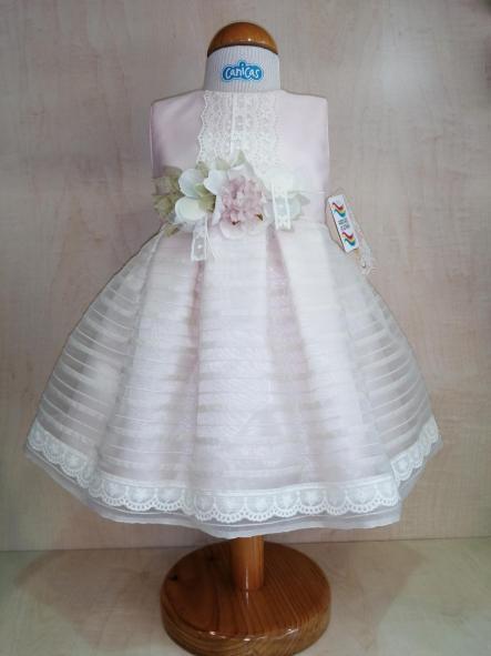 Vestido ceremonia bebé niña rosa