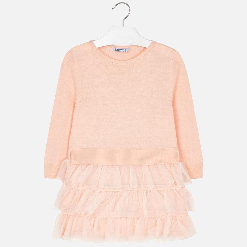 Vestido niña tricot y plumas  Mayoral 4930