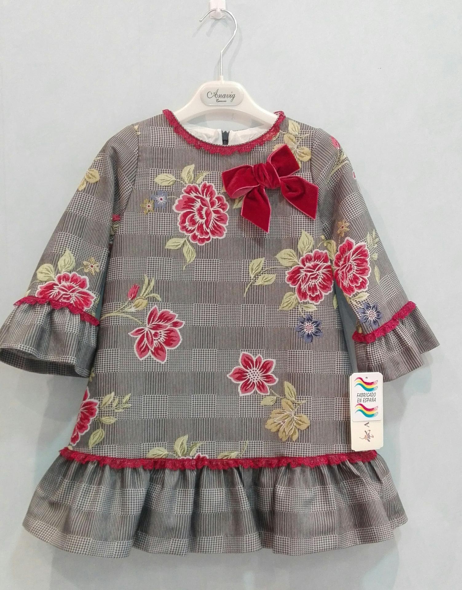 Vestido niña Anavig lazo rojo 74001