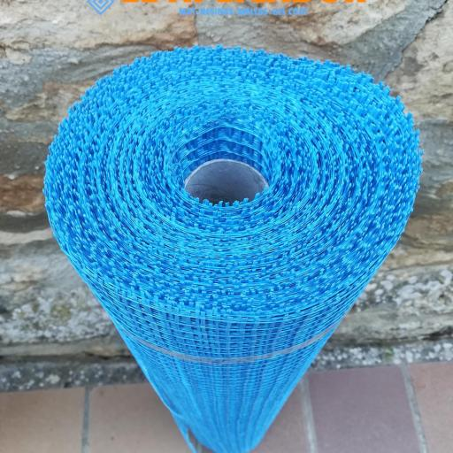 ▷ Malla de Fibra de Vidrio  Azul Mortero 90gr. Rollo de  1 x 50m  [1]