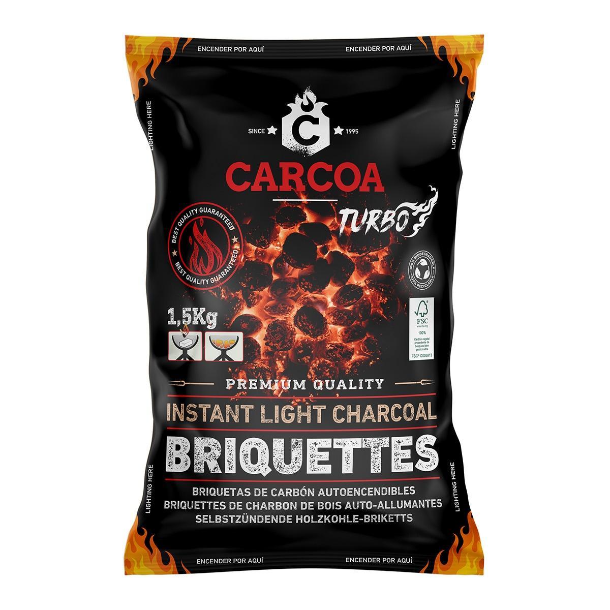 CARBÓN (BRIQUETAS) AUTOENCENDIDO. Carcoa 1.5 Kg.