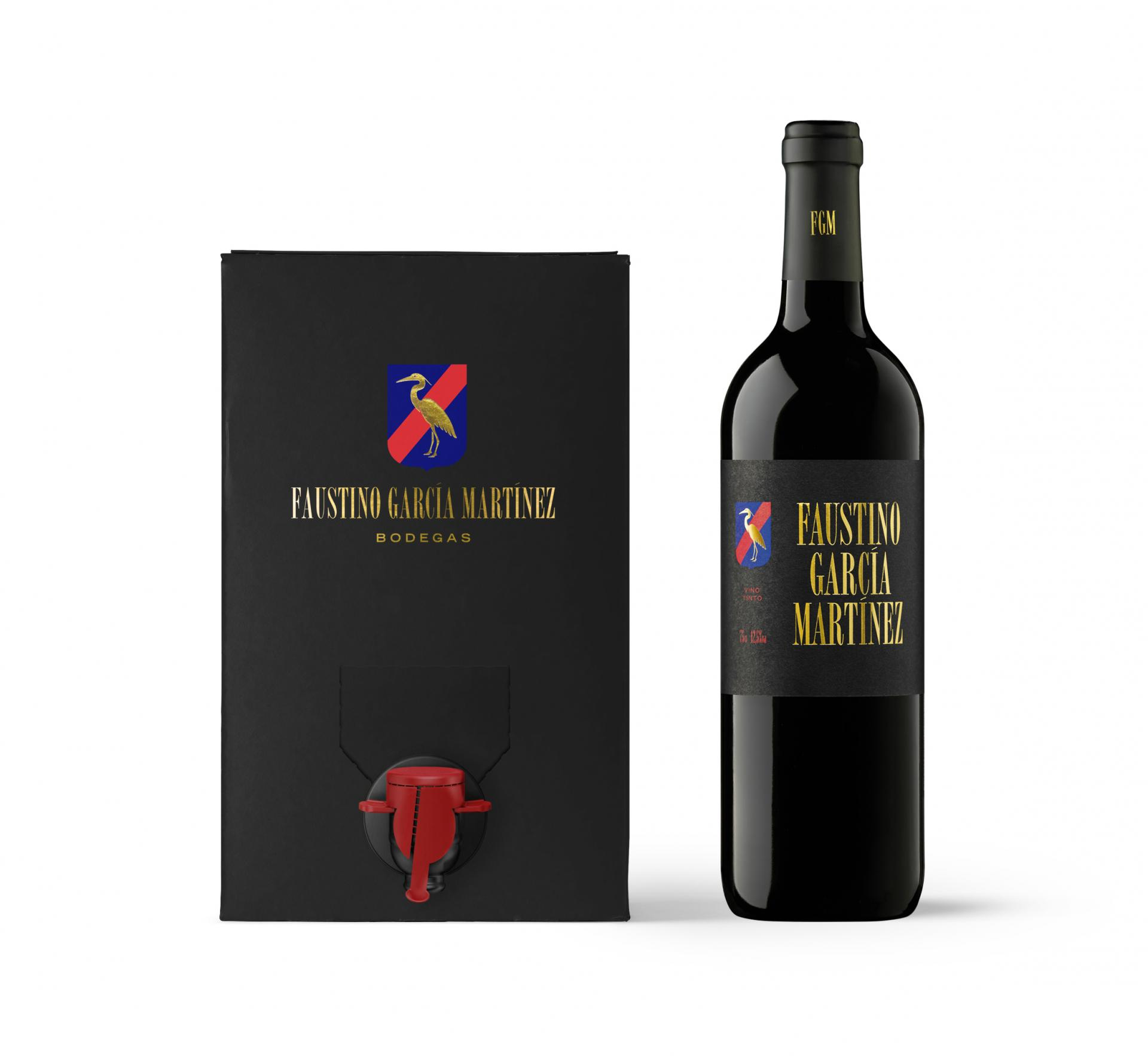 Vino TINTO envejecido 6 MESES. Faustino García Martinez. Bag in box 5L