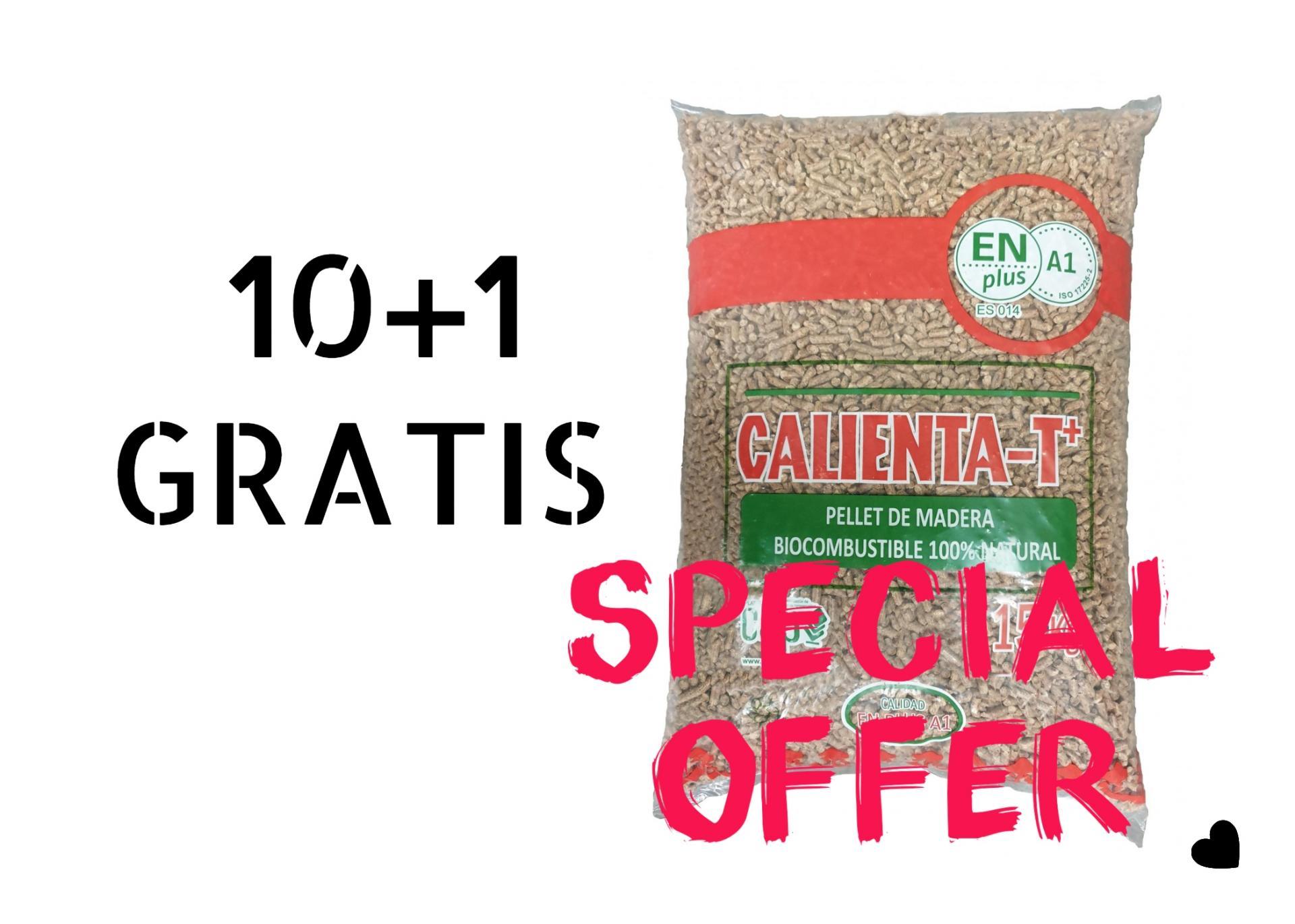 10+1 Pellets Chimenea 15 Kg. T-CALIENTA  Calidad EN-plus A1