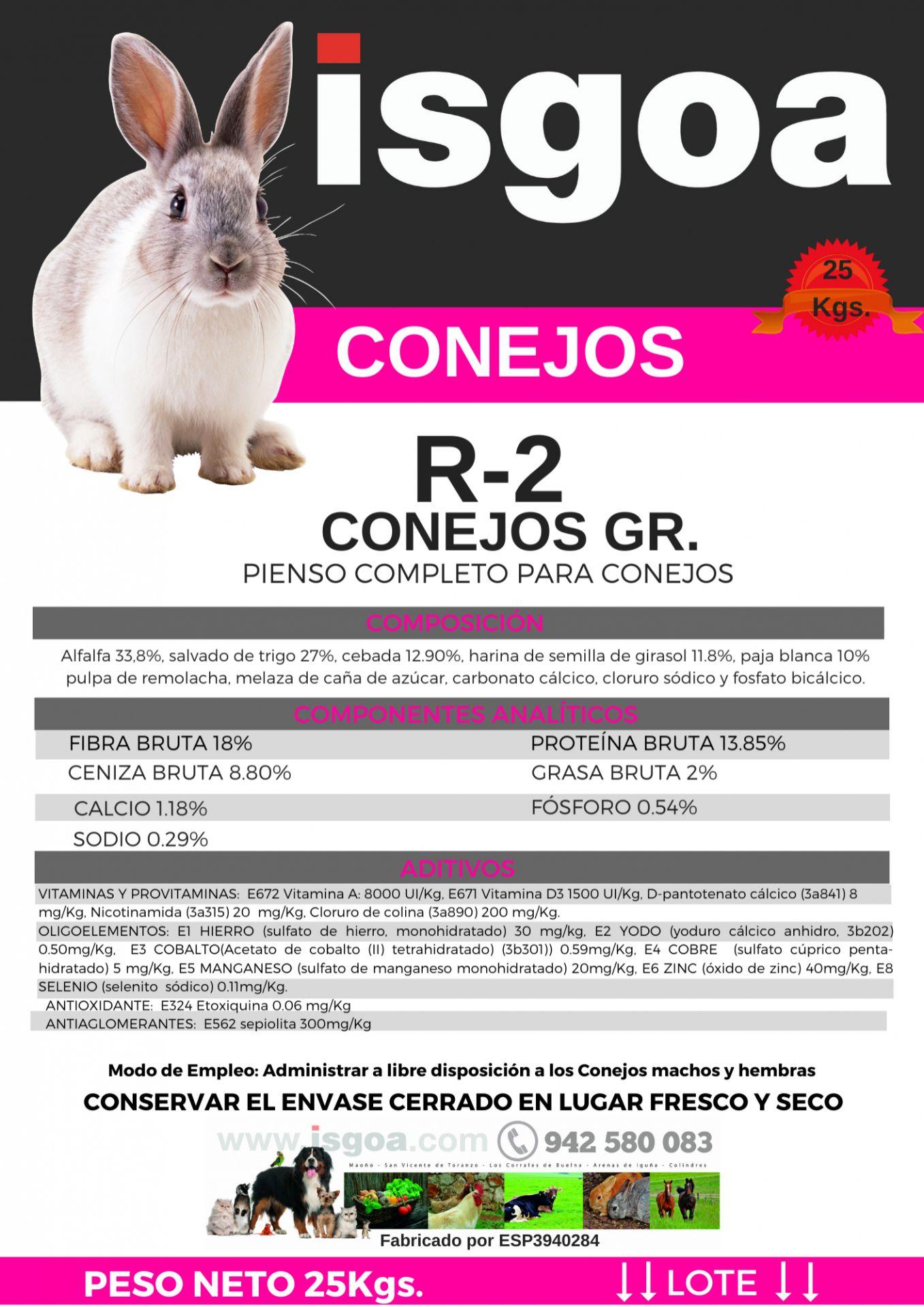 Pienso CONEJOS R-2 Isgoa