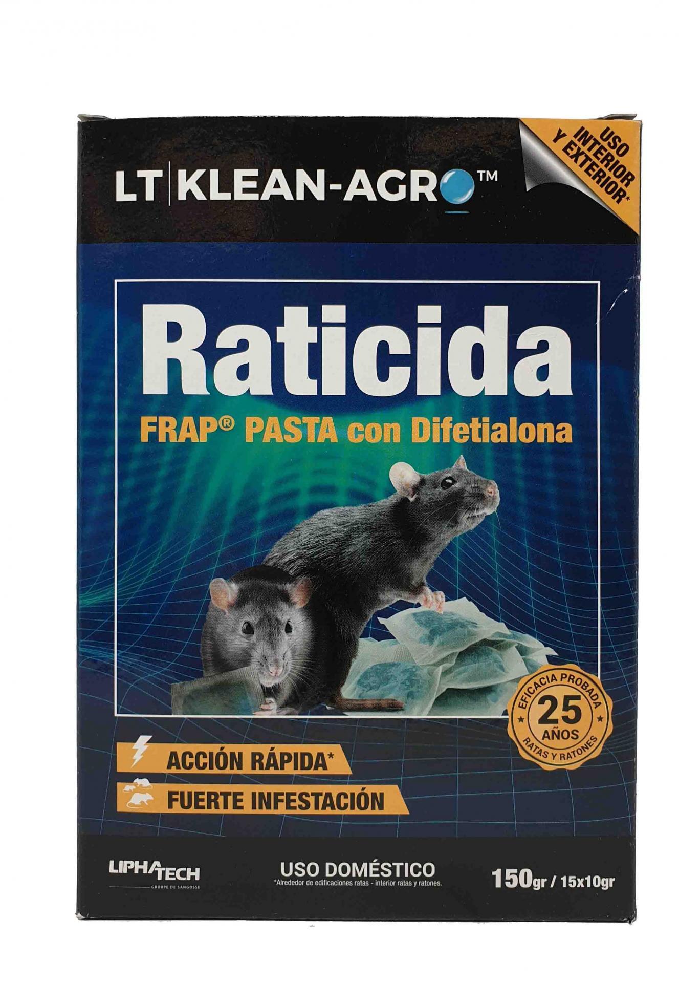 Raticida PLT KLEAN Pasta fresca bolsita . Caja 150 gr.