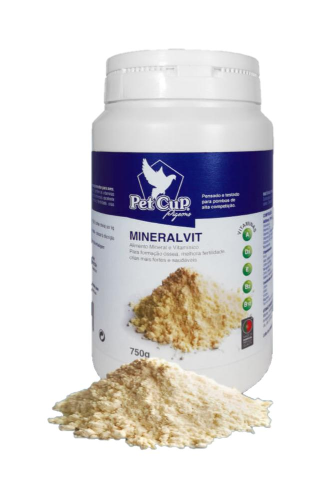 MINERALIVIT. Complemento vitamínico y mineral para PALOMAS. Pet -Cup 750 gr.