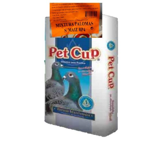Mezcla PALOMAS SIN MAIZ RP4. Pet Cup  Saco 25 kg