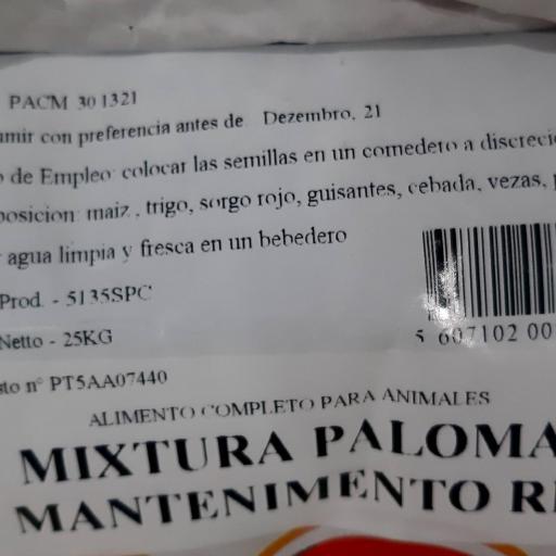 Mezcla PALOMAS MANTENIMIENTO RP5. Pet Cup  Saco 25 kg [1]