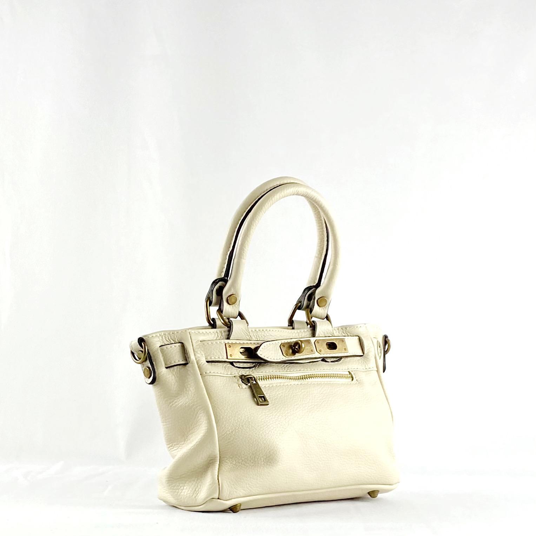 Handbag cremallera beigge mini