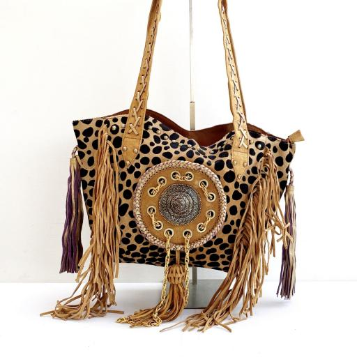 Shopper cuero pelo animal print