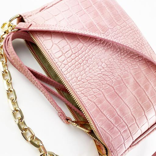 Bandolera cadena piel rosa [3]