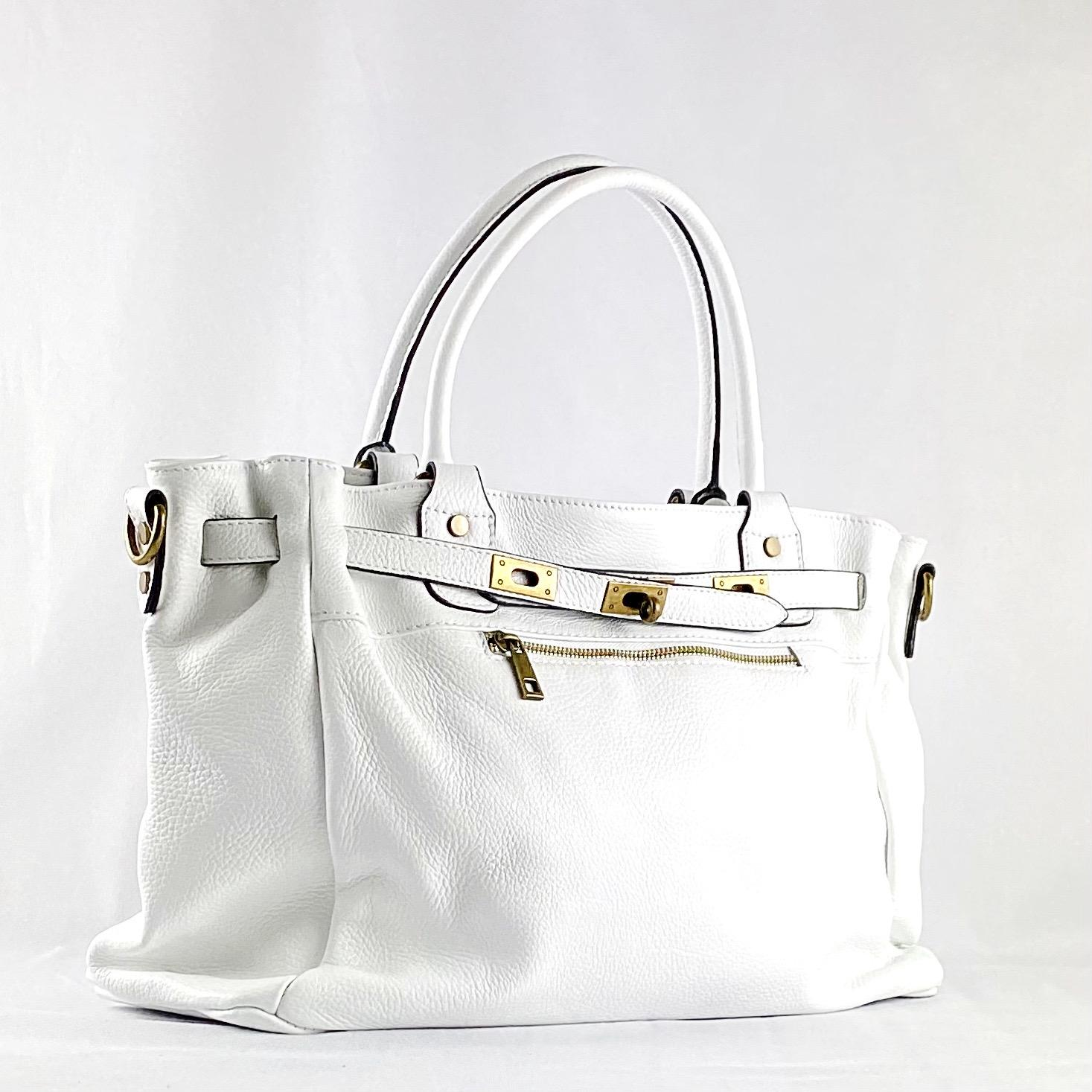 Handbag cremallera blanco