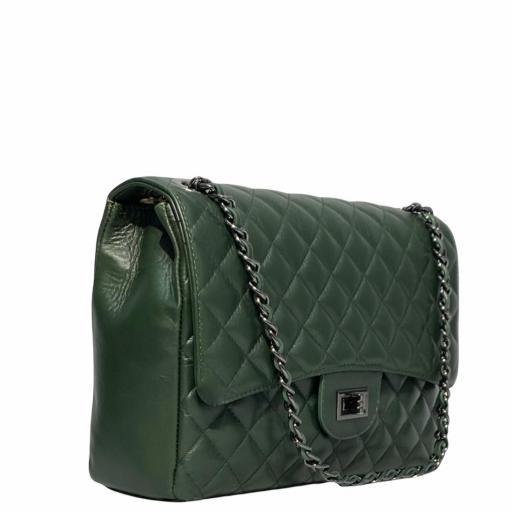 Bolso acolchado  Maxi verde Kaki  cad platino [3]