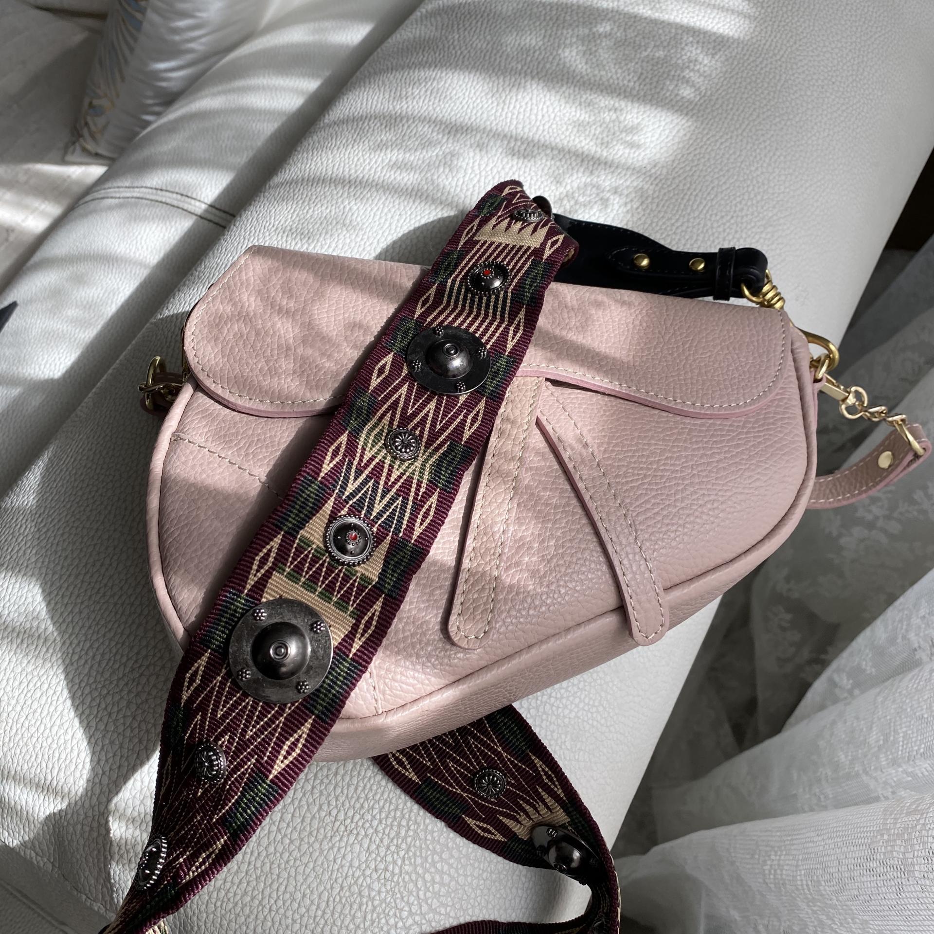 Bolso silla montar  piel rosa