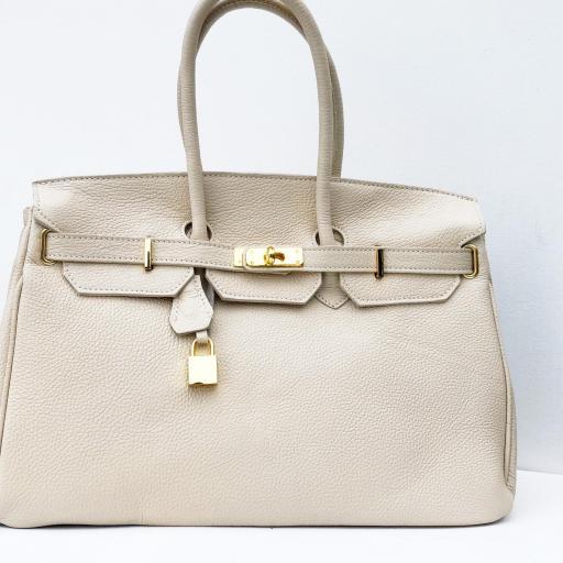 handbag candado beigge/ dorado  [3]