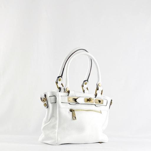 Handbag cremallera blanco mini