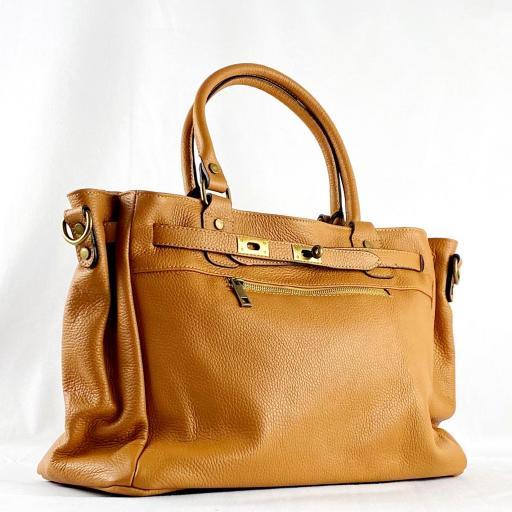 Handbag cremallera camel