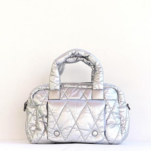 bolso metalizado bandolera plata