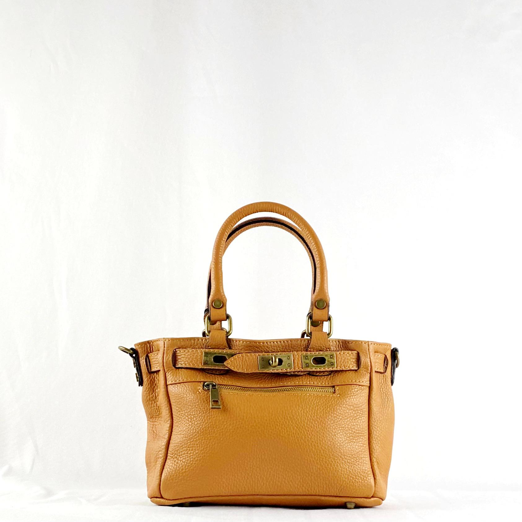 Handbag cremallera camel mini