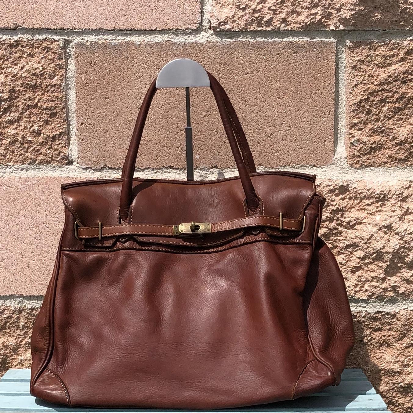 handbag candado marrón  piel lavada