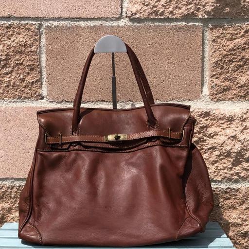 handbag candado marrón  piel lavada [0]