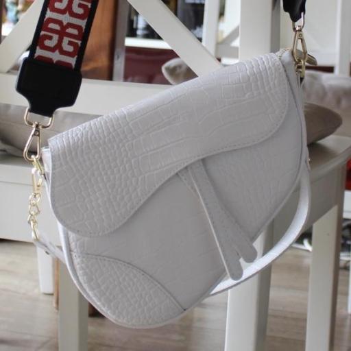 Labrado silla de montar piel Blanco [1]