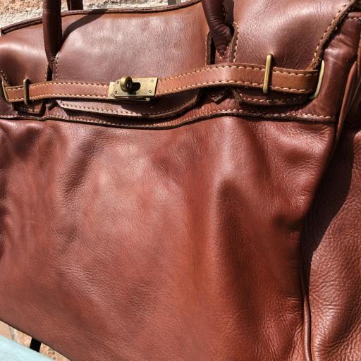 handbag candado marrón  piel lavada [3]