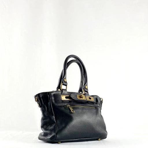 Handbag cremallera negro mini