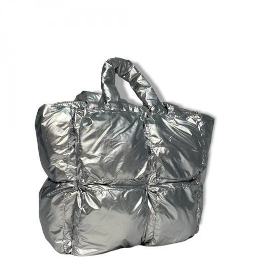 Bolso acolchado Shopper plata