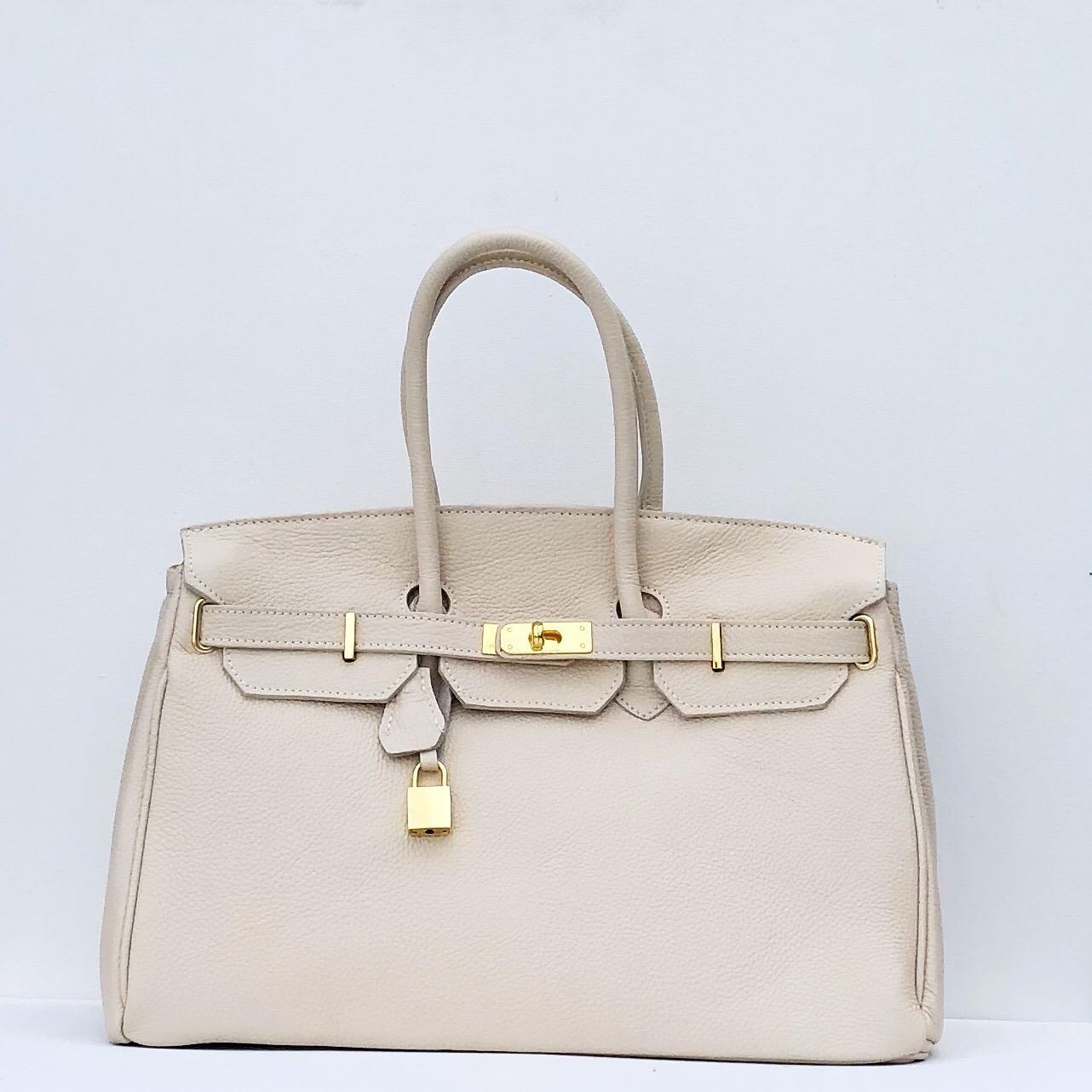 handbag candado beigge/ dorado