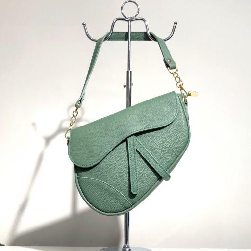 Bolso silla montar  piel verde menta [0]