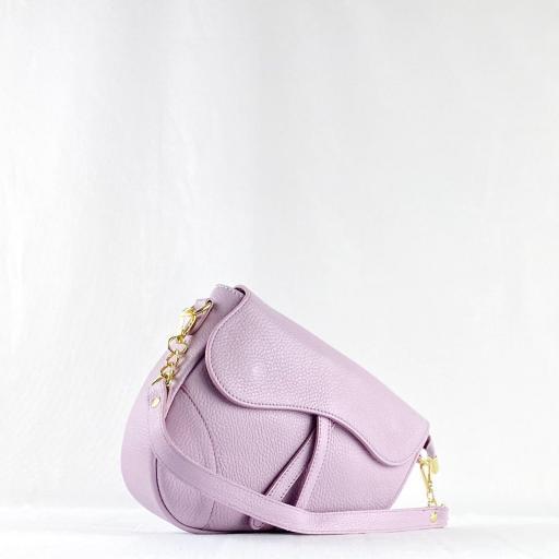 Bolso silla montar  piel lila