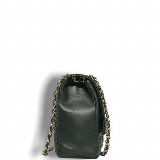 Bolso acolchado  Maxi verde Kaki  cad dorada [3]