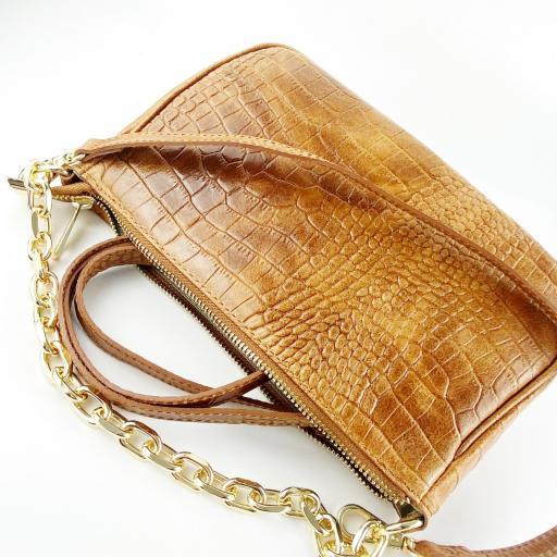 Bandolera cadena piel camel [2]