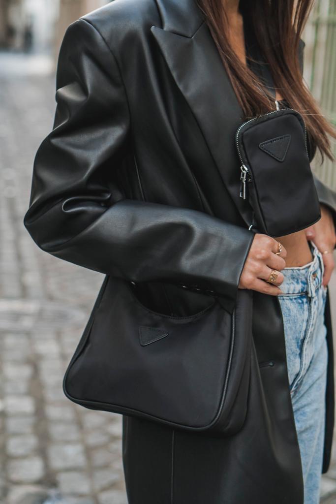 Bandolera  estilo Milán nylon negro