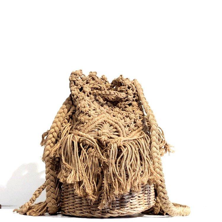 bolso redondo crochet