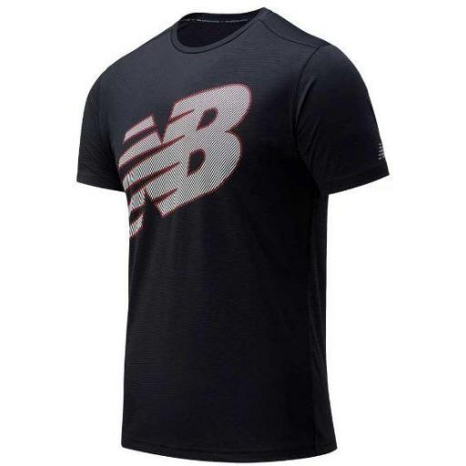 Camiseta New Balance Printed Accelerate SS Negro/Blanco/Rojo