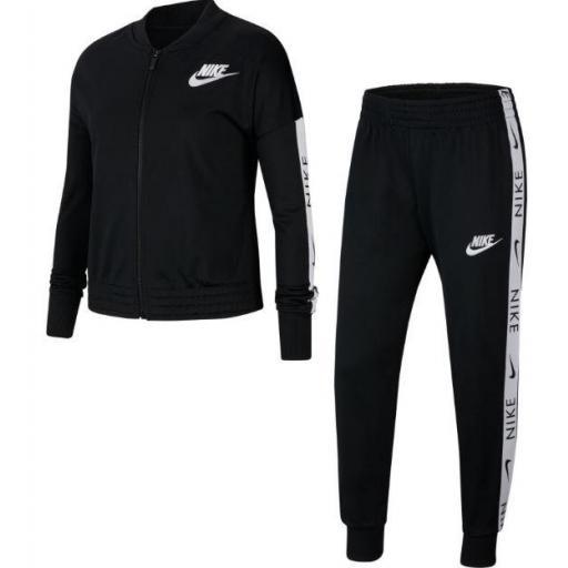 Nike Chándal Niña Sportswear Tracksuit Tricot Negro/Blanco