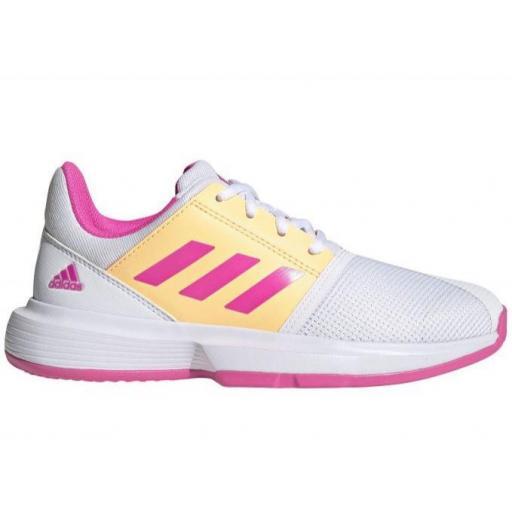 Zapatillas Adidas CourtJam Bounce XJ Tenis Blanco/Rosa/Naranja
