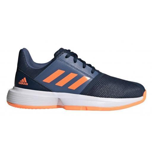 Zapatillas Adidas CourtJam Bounce XJ Tenis Azul/Gris/Naranja