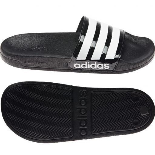 Chanclas Adidas Adilette Shower Negro Brillante/Blanco